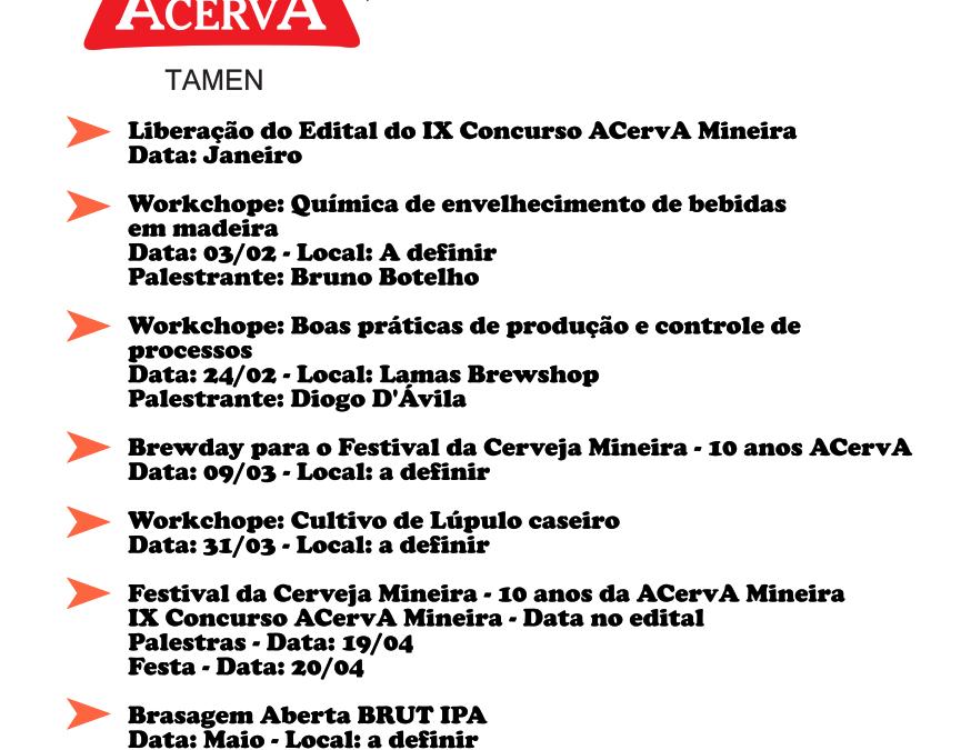 Programação do 1º semestre/2019 ACervA Mineira